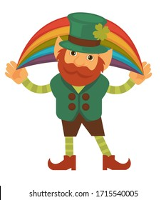 Leprechaun with shamrock or clover holding rainbow in hands. St patricks day character wearing traditional green colors. Bearded fairytale personage in fancy costume. Isolated sprite vector in flat