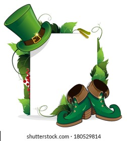 Leprechaun shoe and  hat with leaves and paper scroll on white background. St. Patrick's Day invitation