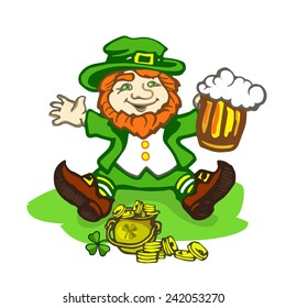 Leprechaun sitting on the lawn with a pot of gold