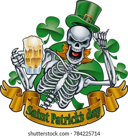 leprechaun skeleton with top hat and beer