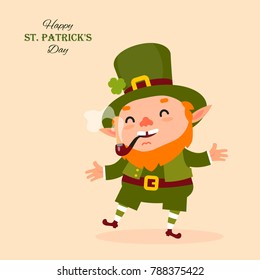 Leprechaun smokes a pipe, laughs and dances. St.Patrick 's Day. raditional national character of Irish folklore. Isolated element of the set of leprechauns 15. Festive collection. Vector illustration
