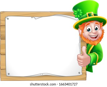 Leprechaun St Patricks Day cartoon character peeking around a sign background and giving a thumbs up