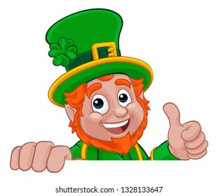 A Leprechaun St Patricks Day Irish cartoon character peeking over a banner or sign and doing a thumbs up