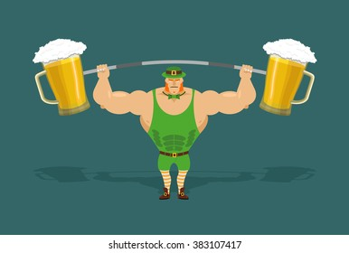 leprechaun is strong. Powerful elf and barbell with mugs of beer. Irish athlete keeps big pints of ALE. dwarf sportsman. Character for St. Patrick's day in Ireland