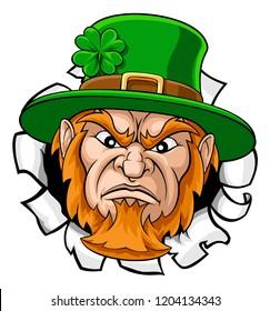 A leprechaun tough mascot cartoon face ripping or tearing through the background