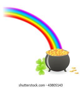 leprechaun treasure cauldron with rainbow and shamrock leafs