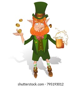Leprechaun vector illustration mascot. St. Patrick's Day fantasy character. Red bearded man in traditional Irish style costume, with mug of beer, coins, shamrock, cylinder hat and pipe.