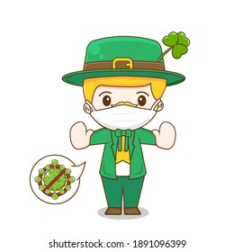 Leprechaun wearing a mask Saint patrick day cartoon character isolated on white background.