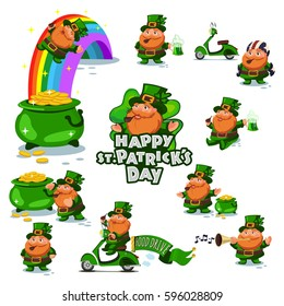 Leprechauns big set. St. Patrick's Day symbols. Vector cartoon illustration of the Irish holiday.