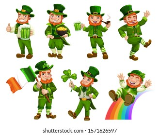 Leprechauns in green costumes and hat isolated cartoon characters. Vector Irish bearded gnome with mug of beer, pot of gold and flag of Ireland. Midget riding on rainbow, Patricks day shamrock symbol