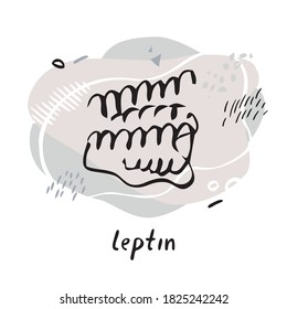 Leptin formula. Peptide hormone hand drawn by line on the background of abstract objects and shapes. Symbol for biology, chemistry, naturopathy, medicine. Flat cartoon vector illustration.