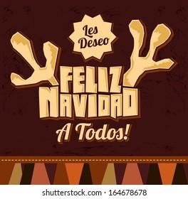 Les deseo Feliz Navidad a todos - I wish Merry Christmas to all spanish text - reindeer antlers christmas card - vector