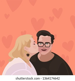 Lesbian couple. Homosexual romantic partners on date. Concept of love, passion and homosexuality.  Flat Vector illustration.