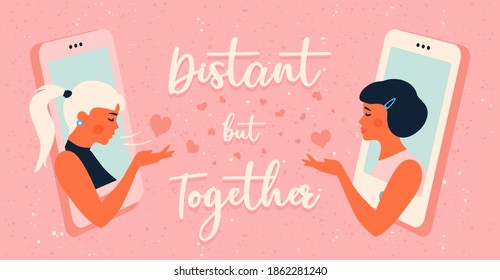 Lesbian couple spending Valentine's Day together over video calls. Online date with air kiss during coronavirus pandemic (covid-19). Lgbt love. Homosexual greeting card with calligraphuc lettering.