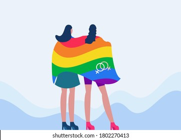 Lesbian couple vector concept: lesbian women covering each other with a rainbow gay pride flag