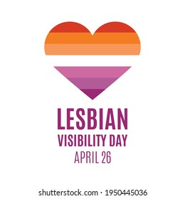 Lesbian Visibility Day vector. Lesbian flag in heart shape icon vector isolated on a white background. Lesbian Visibility Day Poster, April 26. Important day