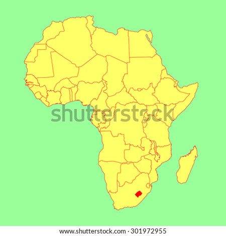 Lesotho Vector Map Isolated On Africa Stock Vector Royalty Free