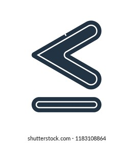 Is less than or equal to symbol icon vector isolated on white background for your web and mobile app design, Is less than or equal to symbol logo concept