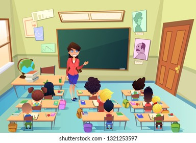 Lesson in Elementary School Cartoon Vector. Happy Smiling Female Teacher Standing at Blackboard with Pointer in Hand, Conducting Lesson, Asking Questions for Little Pupils in Classroom Illustration