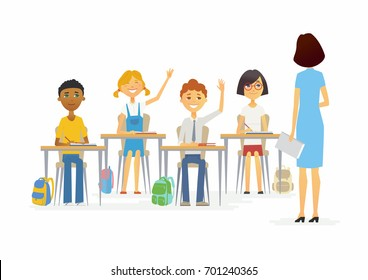 Lesson at school - cartoon people characters illustration with a standing young teacher and happy children raising hands. Classroom with desks, chairs, bags. Perfect as a card, banner, poster