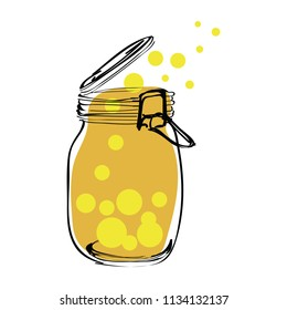 let fire flies free from jar isolated on white background. Vector Illustration.