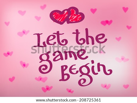 Let Game Begin Quote Heart Emblem Stock Vector Royalty Free