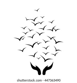 Let it go concept. Birds and hands. Symbol. Vector silhouette.