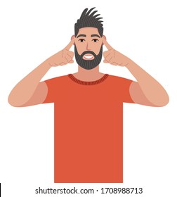 Let me think. Bearded man with stubble looking straight and holding fingers on his temples, trying to remember thing or word that he has at the tip of his tongue. Vector illustration in cartoon style.