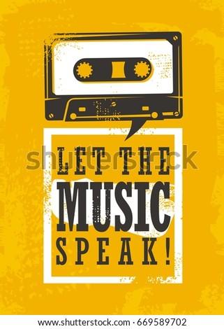 Let Music Speak Grunge Poster Design Stock Vector Royalty Free