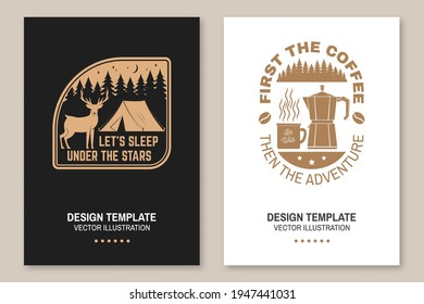 Let s sleep under the stars. Summer camp. Vector. Flyer, brochure, banner, poster design with deer, coffee, camper tent in the night and forest silhouette.