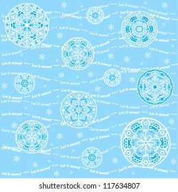 Let it snow! Blue Christmas pattern with hand-drawn snowflakes, waves and circles in light-blue color. Seamless vector background.