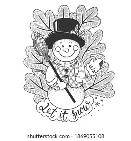 Let it snow - Christmas theme hand drawn vector outline illustration with snowman and firtree