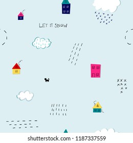 Let it snow flakes fall doodles simple seamless pattern. Winter Holidays vector graphic design element. Cute Hand written primitive small sign Kids drawing Children made naive art paper cutout house