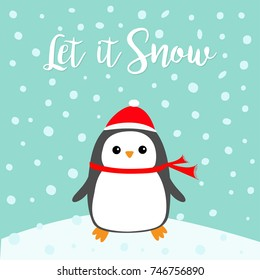 Let it snow. Kawaii Penguin bird on snowdrift. Red Santa Claus hat, scarf. Cute cartoon baby character. Merry Christmas. Flat design Winter blue background with snow flake. Greeting card. Vector