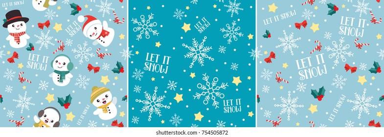 Let It Snow Snowman Christmas Seamless Pattern Set