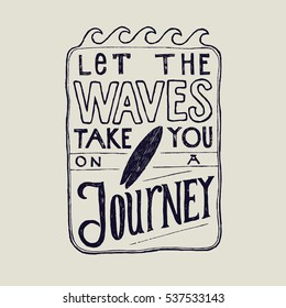 let the waves take you on a journey surfing lettering inside the wave frame.