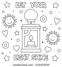 Let your light shine. Coloring page. Black and white vector illustration.