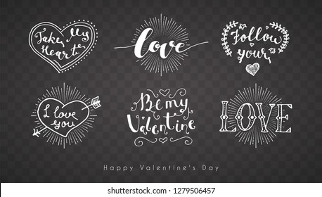 Letering romantic Valentine. Vector set holiday illustration on a transparent background. Happy Valentine's Day
