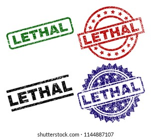 LETHAL seal stamps with corroded style. Black, green,red,blue vector rubber prints of LETHAL text with corroded style. Rubber seals with round, rectangle, medal shapes.