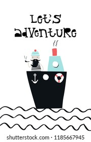 Let's adventure -  the captain on the ship at sea smokes a pipe. Cute kids paper cut vector illustration with hand drawn lettering.
