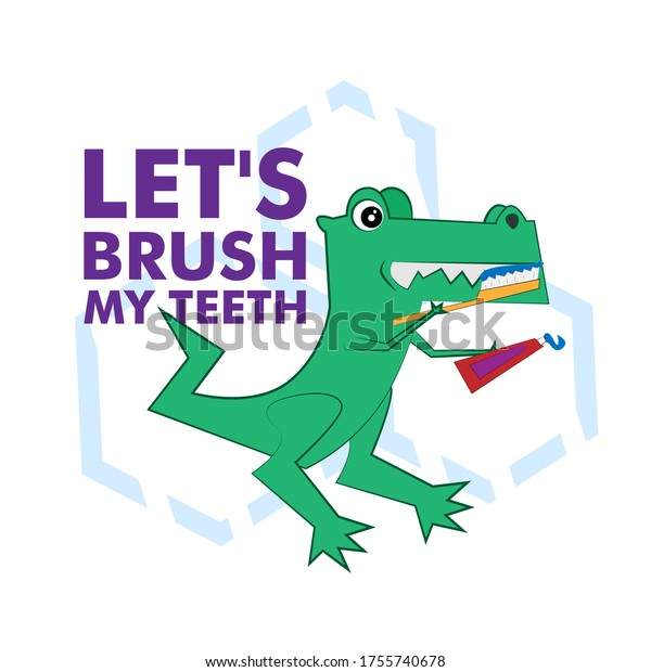 let's brush my teeth with animal illustration for kids education