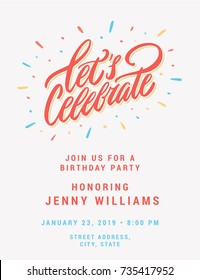 Let's celebrate. Invitation card template.