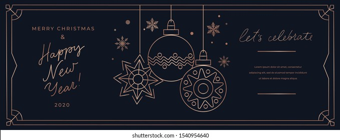 Lets celebrate Merry Christmas linear banner template vector illustration. Happy New Year greeting card with Xmas ball and snowflake in golden frame line. Winter poster with best wishes on holiday