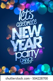 Let's celebrate New Year party poster concept with multi colored confetti backdrop