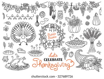 Let's celebrate Thanksgiving Day doodles set. Traditional symbols - turkey, pumpkin pie, corn, cornucopia, wheat. Freehand vector drawings collection isolated.