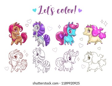 Let's color pony. Funny cute cartoon little chibi horses, colorful and contour pictures. Girlish coloring page template. Vector illustration.
