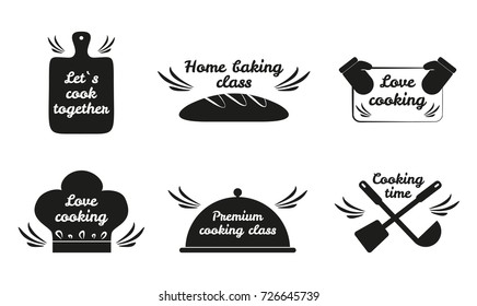 Lets cook together, love cooking set of six icons of kitchen board, bread and kitchen mittens, hat and spoon with text vector illustration logos set