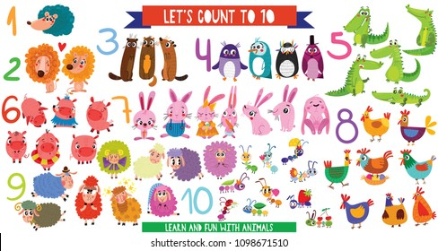 Let's count to 10.Big set with cartoon animals in flat style design. Collection of numerals for kids learning counting or mathematics.