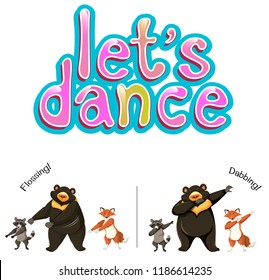 Let's dance animals concept illustration