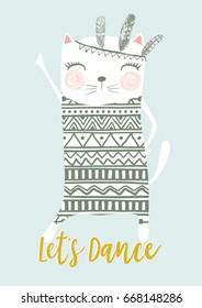 Let's dance cat vector design.